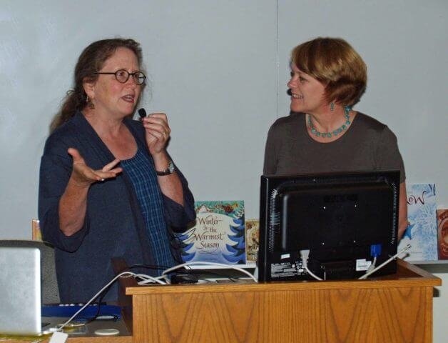 Lauren Stringer (on the left in the photo) and Wendy Orr Giving a talk