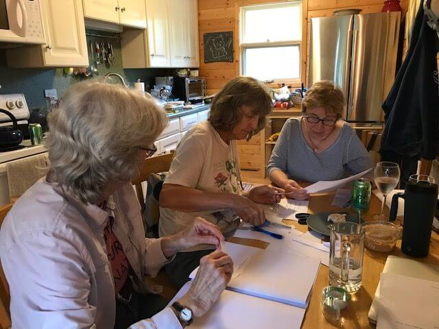 "Phyllis Root, Liza Ketchum and Jacqueline Briggs Martin collaborating on ""Begin with a Bee"""