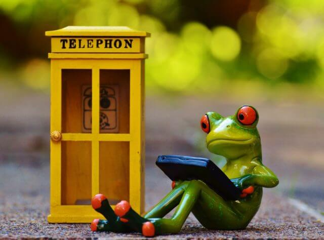 artwork - frog using laptop next to phone booth
