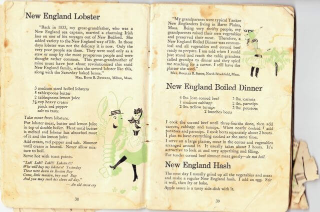 A cookbook describing a few New England recipes
