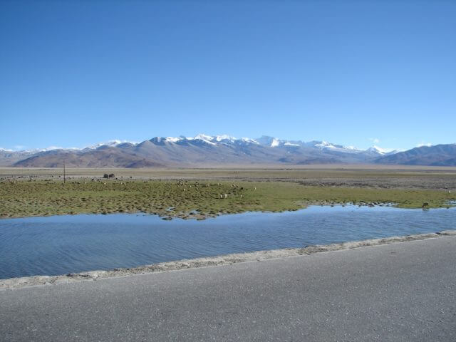 Looking across the plains to the Himalayas