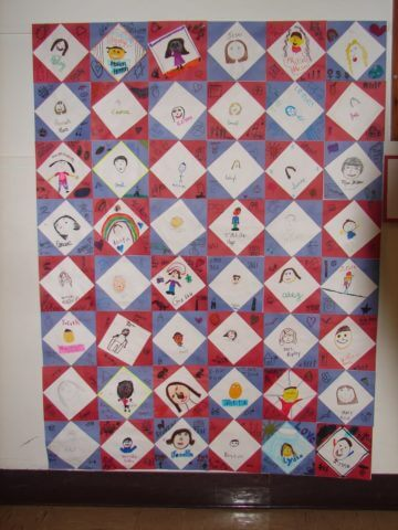 """A paper """"quilt"""" of student drawings"""