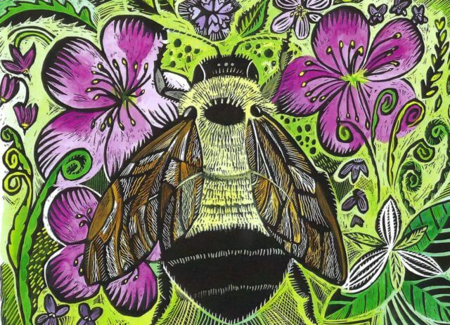 artistic rendering of a bumblebee surrounded by flowers