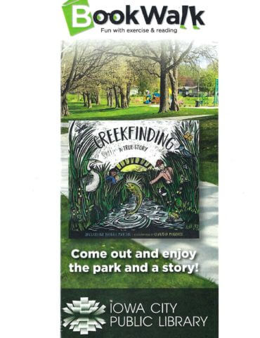 photo of Creekfinding book cover and trees informing people of story walk program