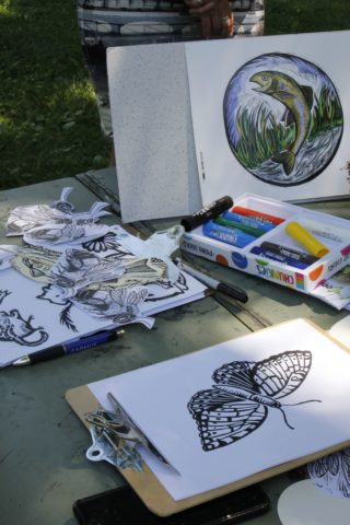 coloring books and cutouts or outdoor animals